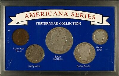 Americana Yesteryear Collection ☆☆ Circulated Barber Coins☆☆5 Coin Silver Set CT