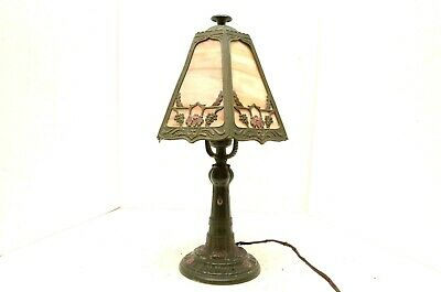 """VINTAGE SMALL SLAG stained marbled GLASS TABLE LAMP antique 15"""" tall"""