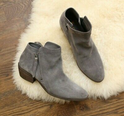 8377ad894 SAM EDELMAN SHOES SIMONE BOOTIES Gray SUEDE RUCHED ANKLE BOOTS HEELS ...
