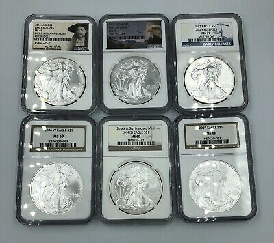 Lot Of 6 American Silver Eagle NGC MS69-70 & SP Graded 1 oz Coins
