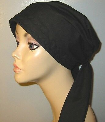 Cancer Chemo Hat Solid Color Black   PreTied  HairLossTurban Muslim Head Cover