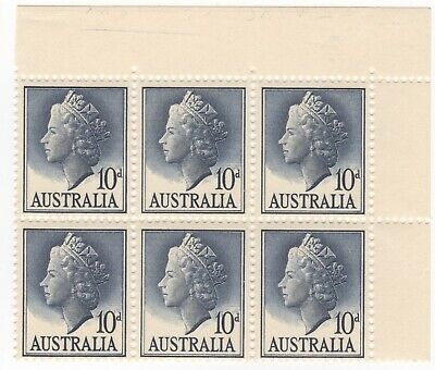 "1957-66 10d QEII - Corner Block of 6 with ""Centre of Work"" Engraved. MUH."