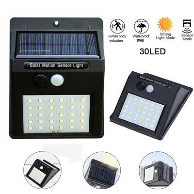 30LED Solar Powered PIR Motion Sensor Wall Security Light Garden Outdoor Lamp 4X