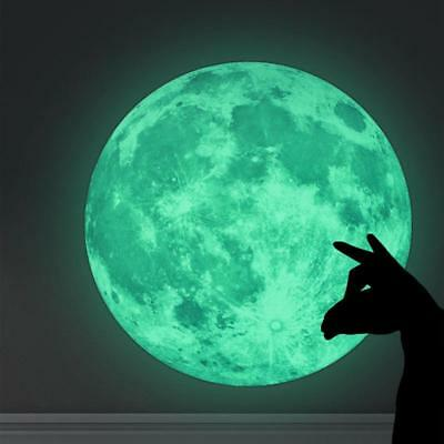 30cm Luminous Glow in the Dark Moon Wall Sticker Home Art Decor Kids Room Decal#