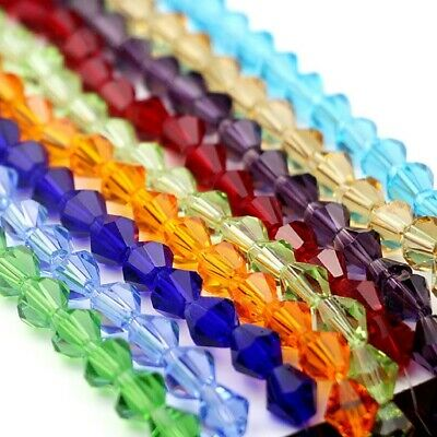 4mm 6mm 8mm Bicone Spacer Glass Crystal Loose Beads For Bracelet DIY Jewelry
