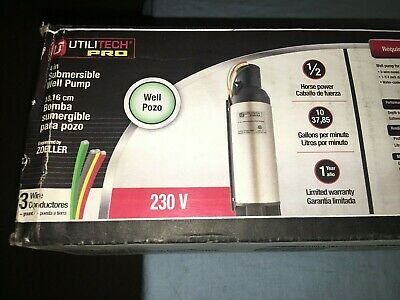New Utilitech 1 2 Hp Stainless Steel Submersible Well Pump 230v 10gpm Ut300