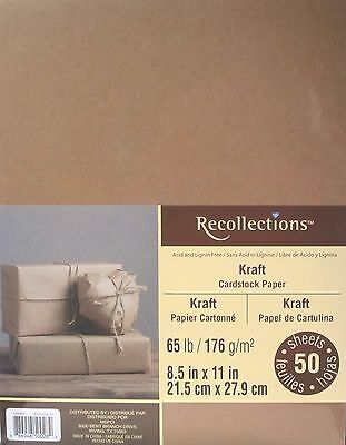 """Recollections Cardstock Paper 8 1/2"""" x 11"""" 50 Sheets single color brown KRAFT"""
