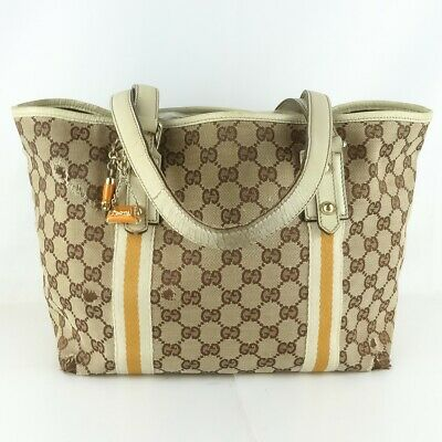 254e42eec8c Auth GUCCI JOLICOEUR GG Pattern Canvas Tote Bag Purse Beige Brown 137396