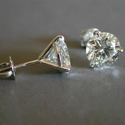 1.50 Ct Round Cut Diamond Solitaire Screw Back Stud Earrings 14k White Gold Over