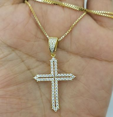 1.00 Ct Round Diamond Cross Pendant Necklace 14k Yellow Gold Over Silver W/Chain