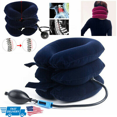Air Inflatable Collar Neck Pain Relief Traction Brace Support Device Health Tool