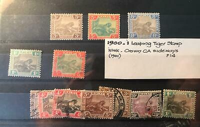 Federated Malay States Leaping Tiger Stamps 1900-1