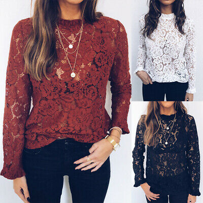 AU Women Long Sleeve Lace Hollow Tops T-Shirt Ladies Sexy See Through Blouse