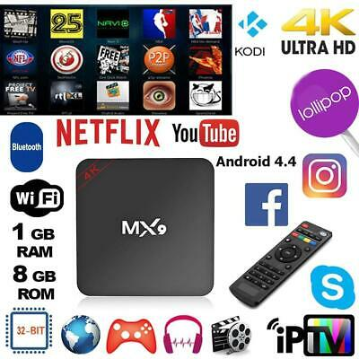 Mx9 4k Quad Core 1g+8g Bluetooth Android 4.4 Boîtier Tv Wi-Fi Mini Pc Streaming