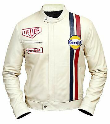 682ff44c6 MEN'S GULF STEVE McQueen Tag Heuer Racing Stripes White Bikers Leather  Jacket