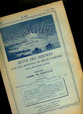 "COLUMBIA MIGNON Grand BS Phonograph in  ""La Nature"" 1901 histo Journal PEUGEOT"