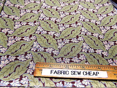 "Quilting Cotton Reproduction FLOWERS LEAVES Cream Greens Brown 44"" x 36""      Z"