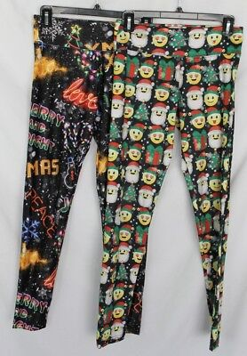 2 Ugly Tacky Christmas Sweater Ugly Party Holiday Leggings Size 16 EUC - Justice