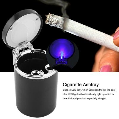 Car Ashtray Auto Travel Ash Holder Cup w/ Blue LED Light Indicator Cinder Holder