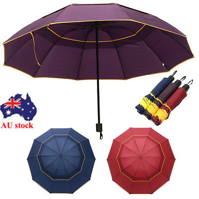 130cm Large Folding Rain Umbrella Anti-UV Windproof Big Oversized For Men