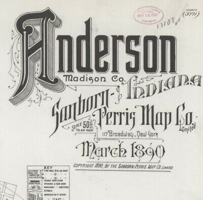 Anderson, Indiana~Sanborn Map©~made in 1890~High resolution color images~12 maps