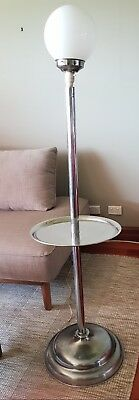 Rare Chrome Art Deco Floor Lamp With Table. Original Antique /retro . Vgc
