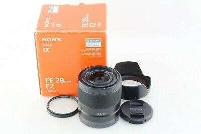 Excellent++ SONY FE 28mm F2 SEL28F20 w/ hood Bright & clear lens