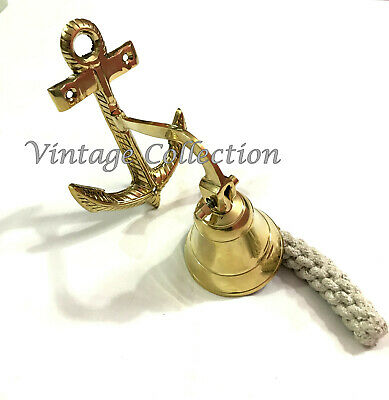Brass Anchor Wall Hanging Ship Bell Nautical Antique Home School Door Bell Decor