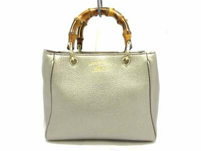 4247d060ca5 AUTH GUCCI BAMBOO Shopper 368823 Silver Brown Leather Bamboo Tote ...