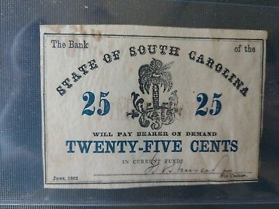 Civil War Confederate 1862 25 Cents Note South Carolina Paper Money Currency VTG