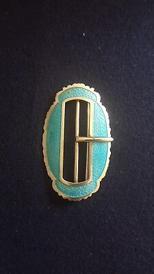 Solid Silver and Turquoise Enamel Victorian belt buckle. 1909. Samuel.M.Levi.