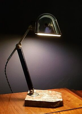 FRENCH ART DECO CHROME DESK LAMP STAMPED ARTISINAT FRANCAIS c 1930