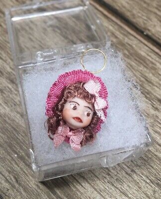 Miniature Artist Doll Face Victorian Girl Dollhouse Wall Decor Hanging Ornament