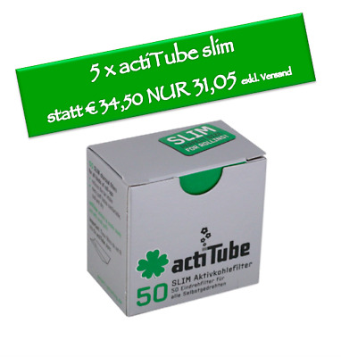 Actitube 50er Aktivkohlefilter SLIM 7 mm | 5 x 50 (250) Packung Tune In Filter