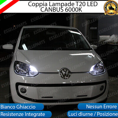 Coppia Luci Diurne Drl Led T20 Canbus Vw Up 6000K Bianco 100% No Error
