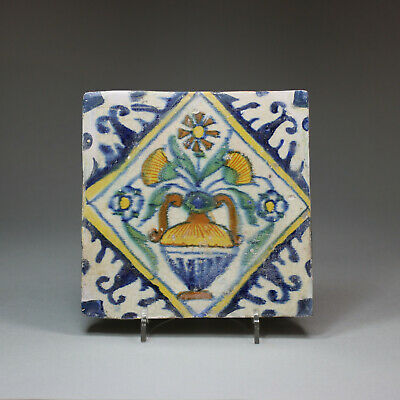 Antique Dutch delft polychrome 'Bloempot' tile, c.1610-1650