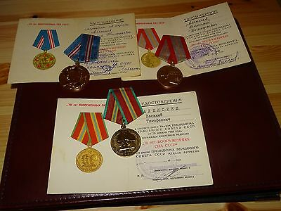 Original USSR Medals 50 60 70 Years Soviet Army + DOC Document. ONE PERSON !