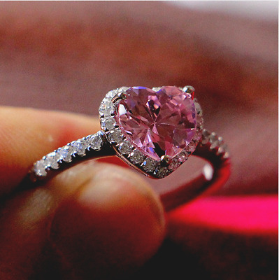 2Ct Heart-Cut Pink Diamond Halo Engagement Ring Solid 14k White Gold Finish