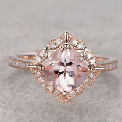 14k Rose Gold Over 2.20 ct Cushion Cut Morganite Vintage Floral Engagement Ring