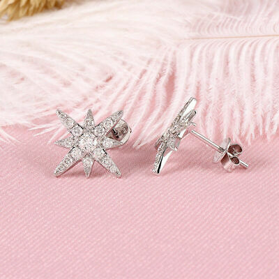 2.30 Ct Round Diamond Double Halo Stud Earring Screw Back 14k White Gold Over