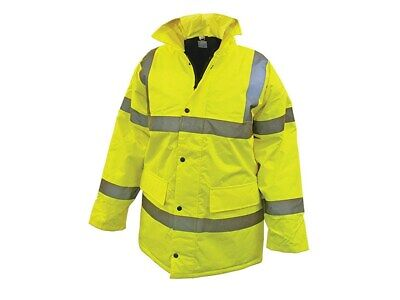 Hi Vis Motorway Jackets Yellow Hi Visibility Work Building Site Safety Jacket