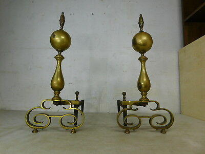 Vintage Set Antique Solid Brass Wrought Iron Cannon Ball Andirons Fire Dogs