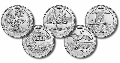 2018 National Parks State Quarters P D 10 Coins Uncirculated Complete Set Mint