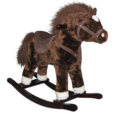 Charm Company Plush RePete Wooden Frame Cowboy Singing Rocking Horse, Dark Brown