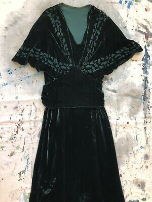 Vintage 1930s Hunter Green Silk Velvet Dress Voided Art Deco Capelet Belt VTG