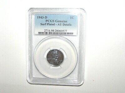 1943-D PCGS Genuine Surf Plated AU Details Lincoln Wheat Steel One Cent 1C Coin.