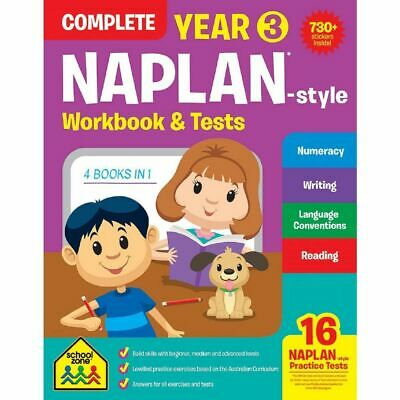 School Zone Years 3 Naplan Style Complete Workbook & Tests - Free Postage