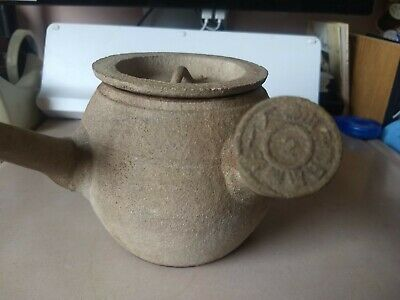 Antique Chinese? Japanese? Tea Ceramic Clay Pot Side Handle Marked-Damaged Spout