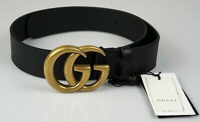 161be143fc6 GUCCI BLACK LEATHER Double G Buckle Belt Brand New with Tags ...