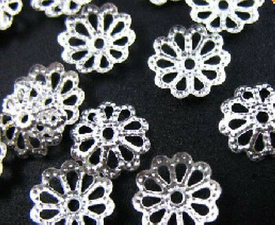 Free Ship 1000Pcs Silver Plated Metal Findings Flower Bead Caps 7mm